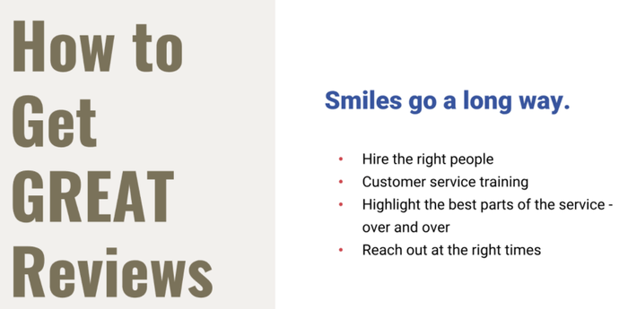 Smile to get great online reviews