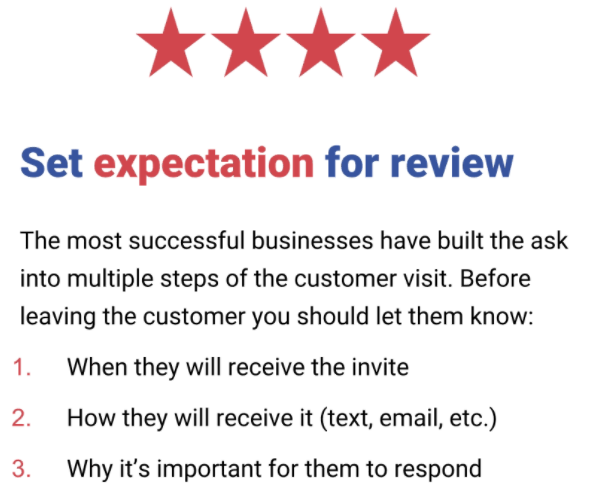 Set expectation to give online review
